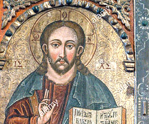 Christ-Pantocrator, 17th century iconography n display at the museum.